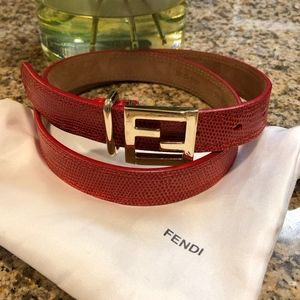 Fendi orange red ff Belt